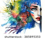 conceptual abstract painting of ... | Shutterstock . vector #385895353