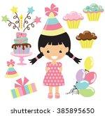birthday girl vector... | Shutterstock .eps vector #385895650