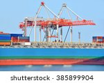 container stack and ship under... | Shutterstock . vector #385899904