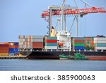 container stack and cargo ship... | Shutterstock . vector #385900063