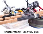 fishing tackles and baits in... | Shutterstock . vector #385907158