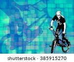 bmx stunt cyclist on the... | Shutterstock .eps vector #385915270