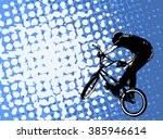 bmx stunt cyclist on the... | Shutterstock .eps vector #385946614