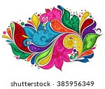 vector colored floral... | Shutterstock .eps vector #385956349