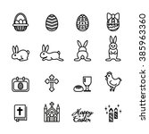 easter icon. line style stock... | Shutterstock .eps vector #385963360