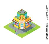 isometric building pizza... | Shutterstock .eps vector #385963594