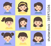 set of kids blue yellow. vector ... | Shutterstock .eps vector #385971106