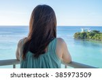 young woman relax in tropical... | Shutterstock . vector #385973509