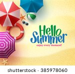 hello summer background with... | Shutterstock .eps vector #385978060