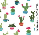 mexican cactus print | Shutterstock .eps vector #385986718