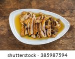 roast duck with coffee on top... | Shutterstock . vector #385987594