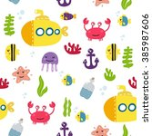 cute vector sea print for kids | Shutterstock .eps vector #385987606