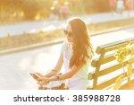lovely girl hipster smiling.... | Shutterstock . vector #385988728