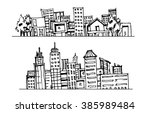 cartoon hand drawing city | Shutterstock . vector #385989484