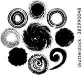 set of black circles. brush... | Shutterstock .eps vector #385990048