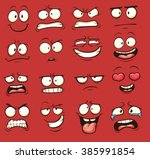 funny cartoon faces. vector... | Shutterstock .eps vector #385991854