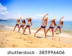 cheerleaders in white blue...   Shutterstock . vector #385996606
