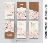 floral abstract vector brochure ... | Shutterstock .eps vector #386008246