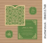 wedding invitation or greeting... | Shutterstock .eps vector #386011768