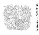 doodle flower pattern black and ... | Shutterstock .eps vector #386022940