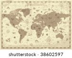 Retro-styled map of the World with mountains and fantasy monsters. Colored in sepia. Vector illustration.