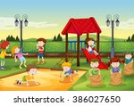 children playing in the... | Shutterstock .eps vector #386027650