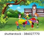 children playing in the school... | Shutterstock .eps vector #386027770