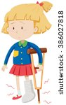 little girl with broken leg... | Shutterstock .eps vector #386027818