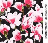 seamless pattern of magnolia.... | Shutterstock .eps vector #386030290