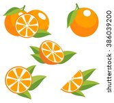 orange fruit with leaves.... | Shutterstock .eps vector #386039200