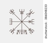 galdrastafir. magic runic... | Shutterstock .eps vector #386048233