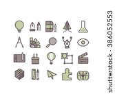 thin lines icons set. creative...   Shutterstock .eps vector #386052553