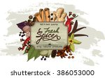 vintage label with hand drawn... | Shutterstock .eps vector #386053000