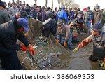 luannan   feb. 24  fishermen in ... | Shutterstock . vector #386069353