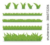 collection of green grass ... | Shutterstock .eps vector #386072206