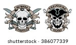 set of hand drawn pirate... | Shutterstock .eps vector #386077339