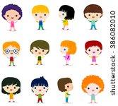 happy kids character set design | Shutterstock .eps vector #386082010
