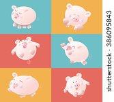 cute cartoon pig  vector... | Shutterstock .eps vector #386095843