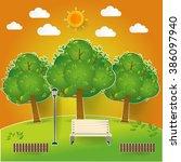 natural landscape in pop up... | Shutterstock .eps vector #386097940