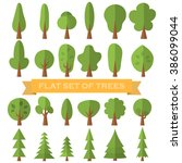 tree icon flat set . nature... | Shutterstock .eps vector #386099044