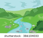 hills valley and streams.... | Shutterstock .eps vector #386104033