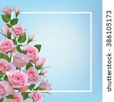 background with realistic pink... | Shutterstock .eps vector #386105173
