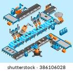 industrial robot isometric... | Shutterstock . vector #386106028