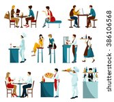 restaurant visitors flat icons... | Shutterstock . vector #386106568