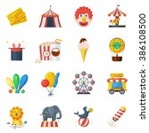 circus icons flat set | Shutterstock . vector #386108500