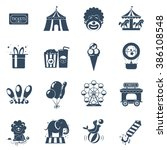 circus icons set | Shutterstock . vector #386108548