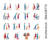 family problems icons | Shutterstock . vector #386108773