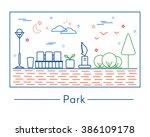 vector linear landscape design... | Shutterstock .eps vector #386109178