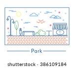 vector linear landscape design... | Shutterstock .eps vector #386109184