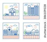 vector set of four city... | Shutterstock .eps vector #386109328